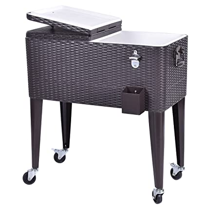 Keter Rattan Style 3 Drawer Cart.Amazon Com Giantex 80 Quart Rattan Rolling Cooler Cart Outdoor