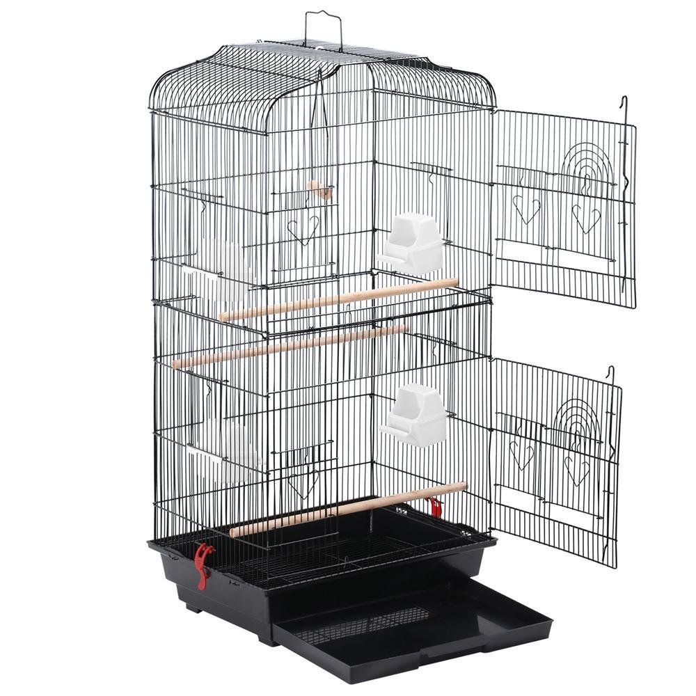 Yaheetech 36'' Metal Flight Bird Cage Parrot Cockatiel House Finch Aviary Pet Perch, Black/White