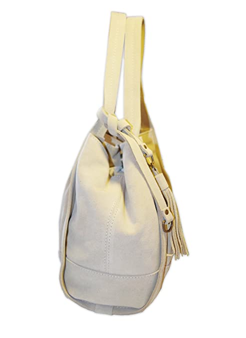 Posh Gear Sac à Main pour Femme Borsalinda en daim et cuir Made in Italy 30x25x25 (L x H x L) beige OwKG3ZW