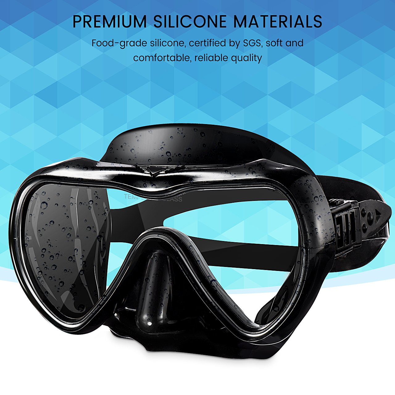 Soft Adjustable Strap Head for Swimming Soft Silicone Perfectly Fits The Face Blue Snorkeling Snorkeling Diving Scuba Snorkeling Mask with Anti-Fog Tempered Glass Lens Mpow Adult Diving Mask