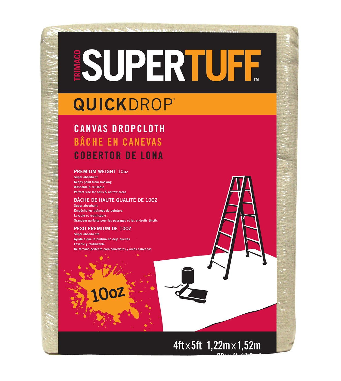 Trimaco SuperTuff 10 oz thick Heavyweight Canvas Drop Cloth, 4-feet x 5-feet