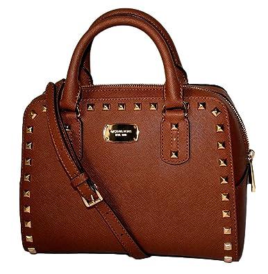 bf829fccd83a Amazon.com  Michael Kors Saffiano Stud Small Satchel Handbag Luggage Brown  Leather  Shoes