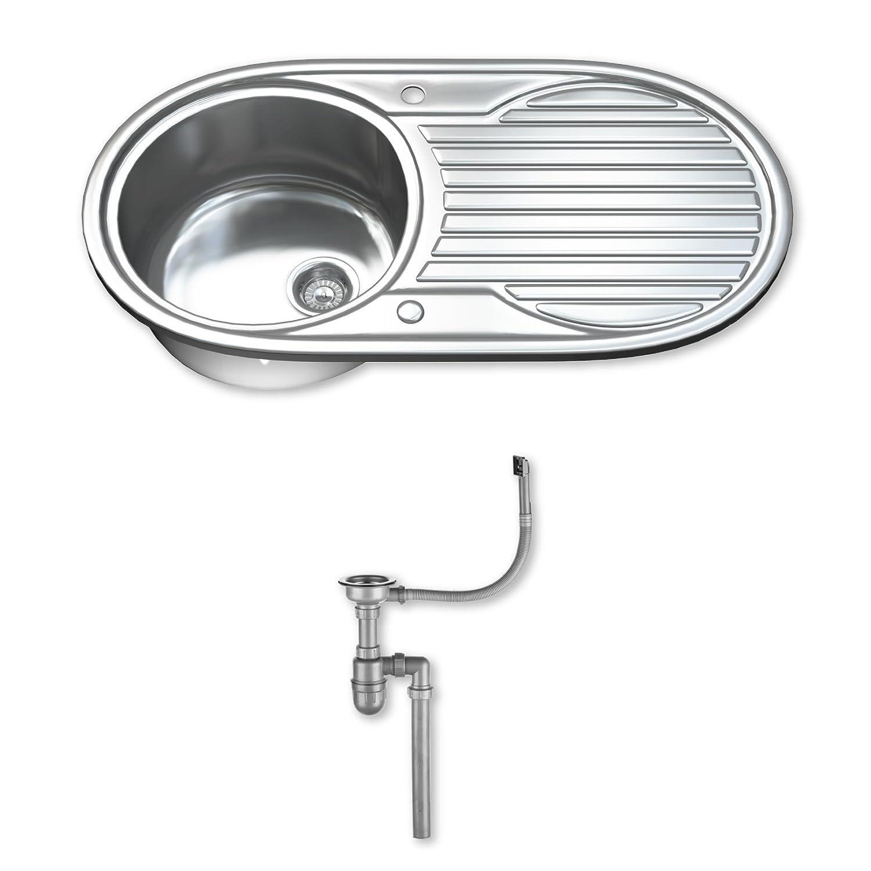 Dihl KS-1061-WST1 1.0 - Fregadero de cocina, de acero inoxidable, moderno (90 x 47 x 20 cm), color plateado