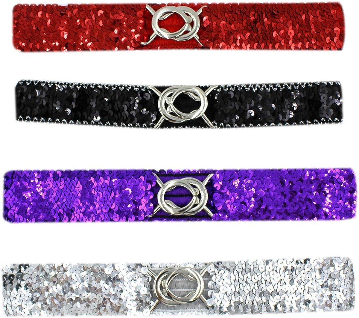 RARITYUS 4 Pack Women Girls Elastic Waist Belt Sparkly Glitter Sequin Decor Metal Buckles Wide Dress Skirts Corset Cinch Belt