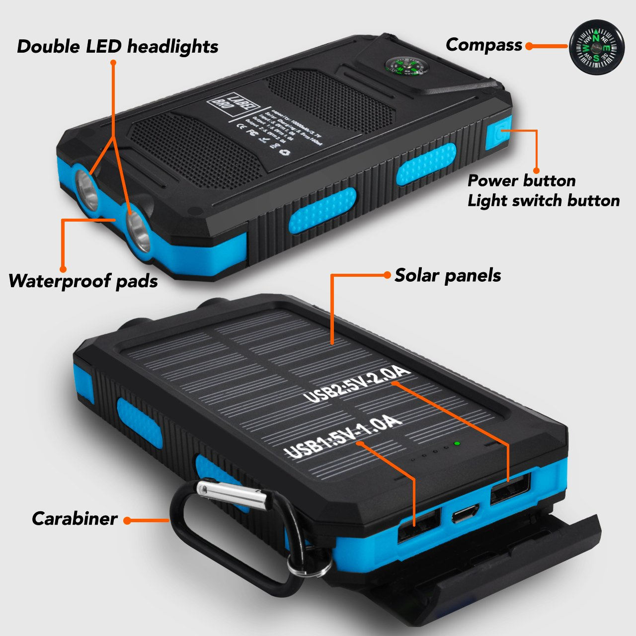 Solar Portable Charger, LabelBro Solar Battery 10000mAh Battery, Waterproof, Solar Charge, Dual LED Headlamp, Portable Compass, Outdoor Travel Solar Mobile Power, Home, Emergency (blue) by LabelBro (Image #3)