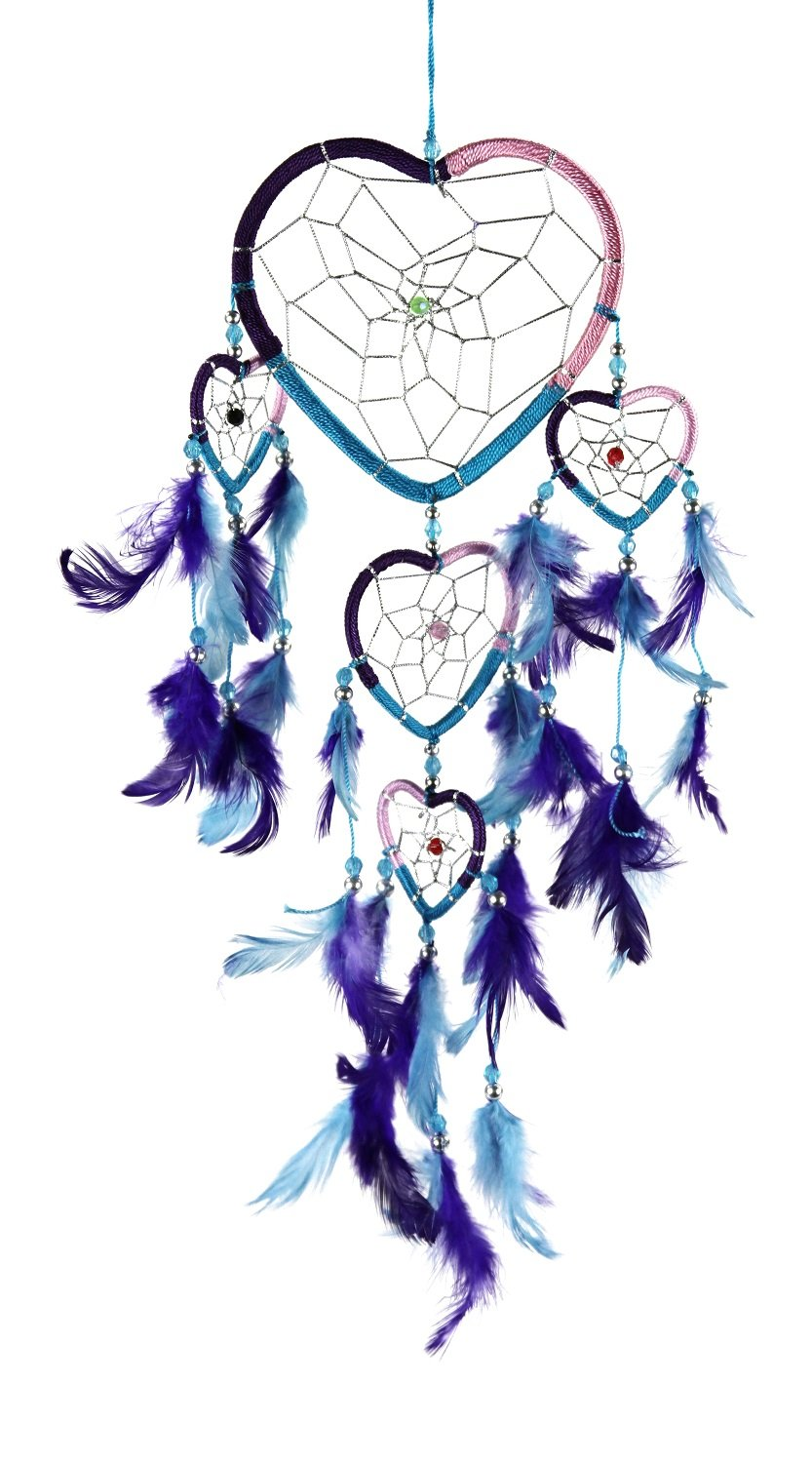 Pink, Blue And Purple Heart Shaped Dream Catcher