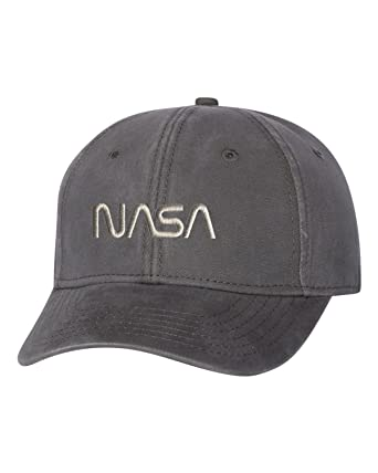 3d744f0a12a Adjustable Charcoal Adult Nasa Worm Logo Embroidered Dad Hat Structured Cap.  Roll over image to zoom in. Go All Out Screenprinting