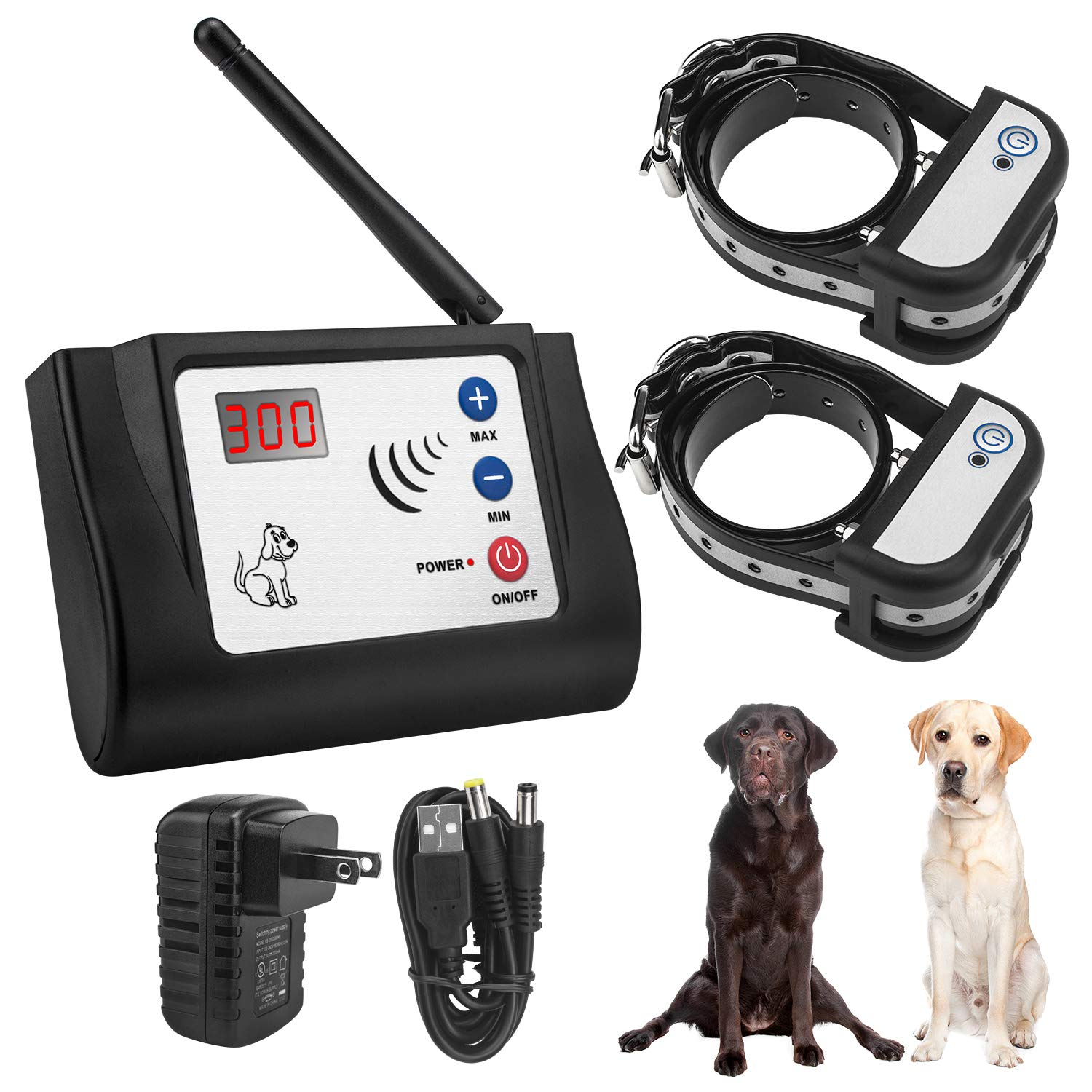 Beinhome Wireless Electric Pet Dog Fence Electronic Invisible Fence Outdoor Wireless Fence for 2 Pet Dogs Rechargeable Shock Tone Correction