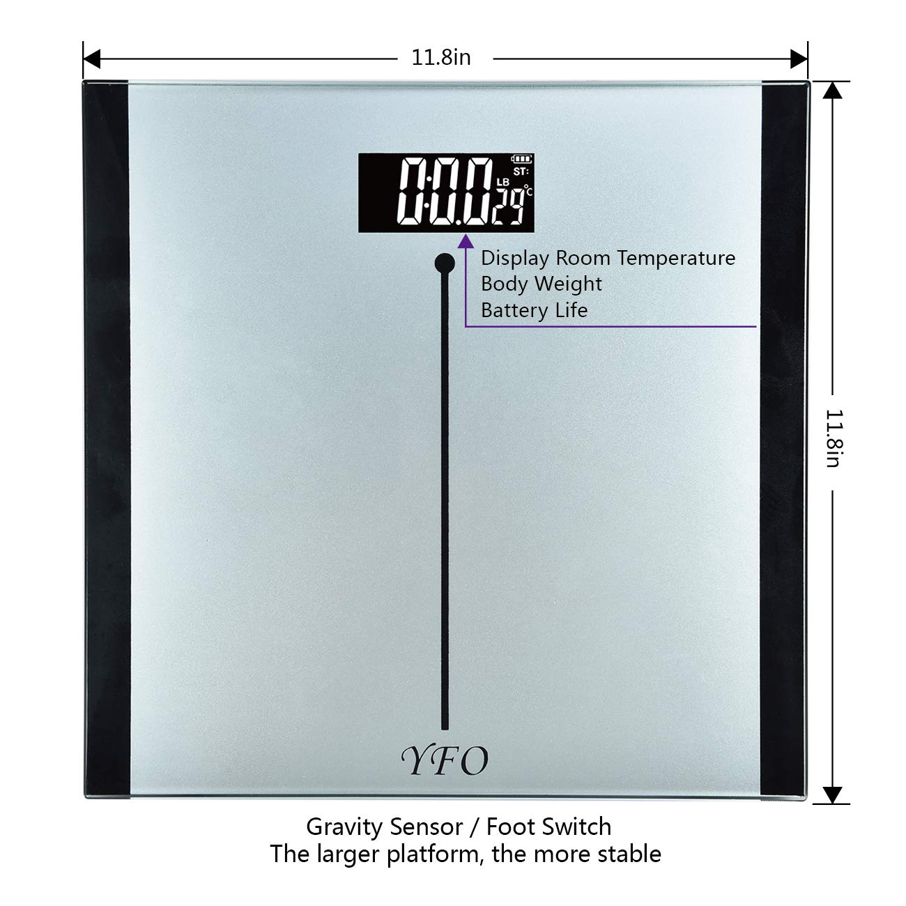 Digital Body Weight Bathroom Scale with Step-On Technology 11.8 11.8 Large Platform Plus 0.32in Tempered Safety Glass Two Unit KG and LB Display Room Tempreture, Elegant Silvery White
