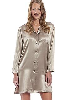 27cce2209c6c1b Jadee Damen Sleepshirt Seiden Nachthemd Langarm 100% Seidensatin Größe L in  2 Farben