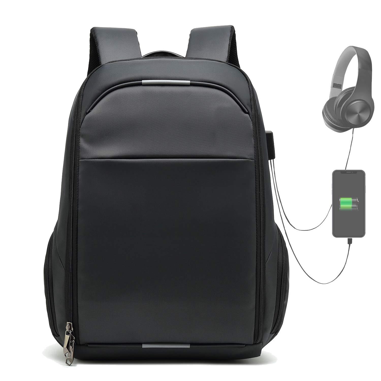 Aeegulle Travel Laptop Backpack,Professional Business Backpack Bag with USB Charging Port,Slim Lightweight Laptop Bag,Water Resistant School Rucksack for Women Men,Fits 17 Inch Laptop-Black