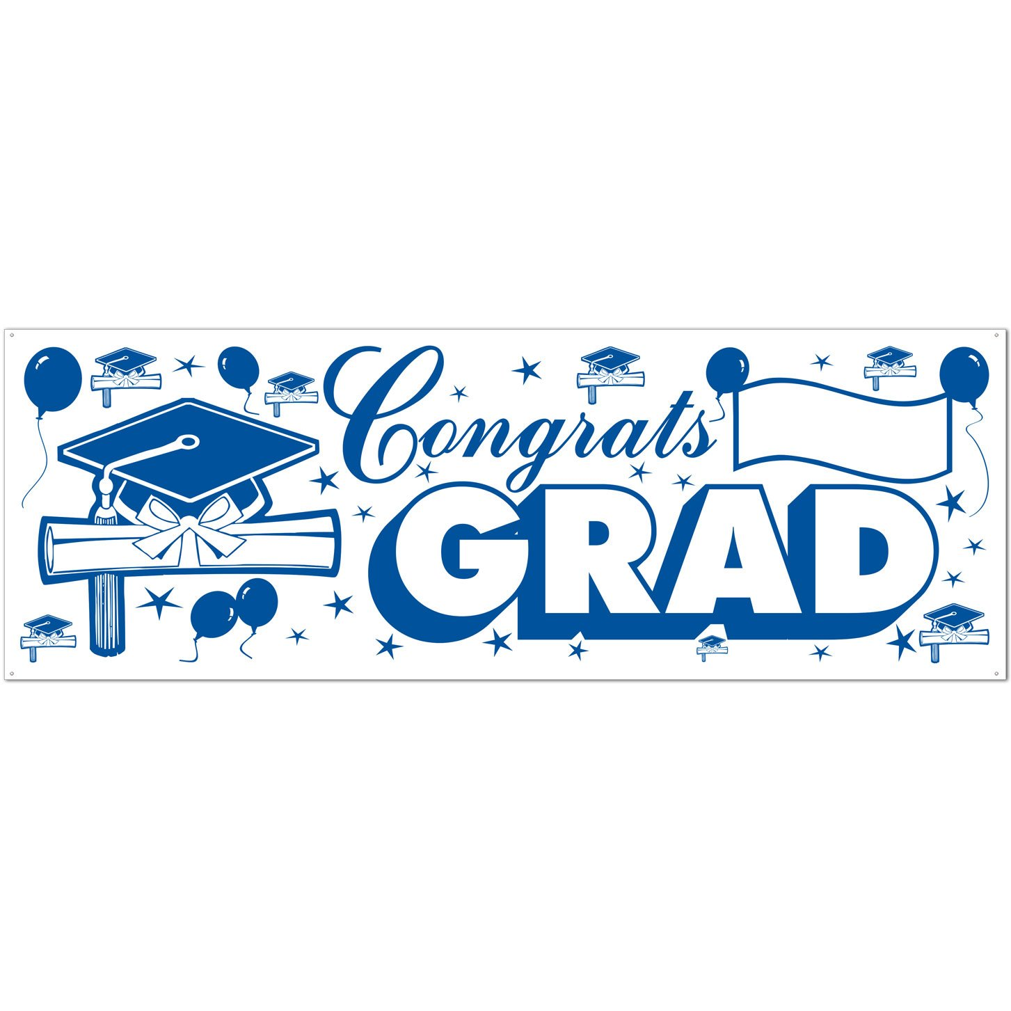 The Beistle Company 57647-GW Congrats Grad Sign Banner green /& white 1//Pkg 1 count Party Accessory