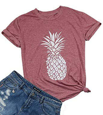 519c02c0e Women's Summer Pineapple Printed T Shirt Casual Short Sleeve Tops Girls Graphic  Tees Size S (