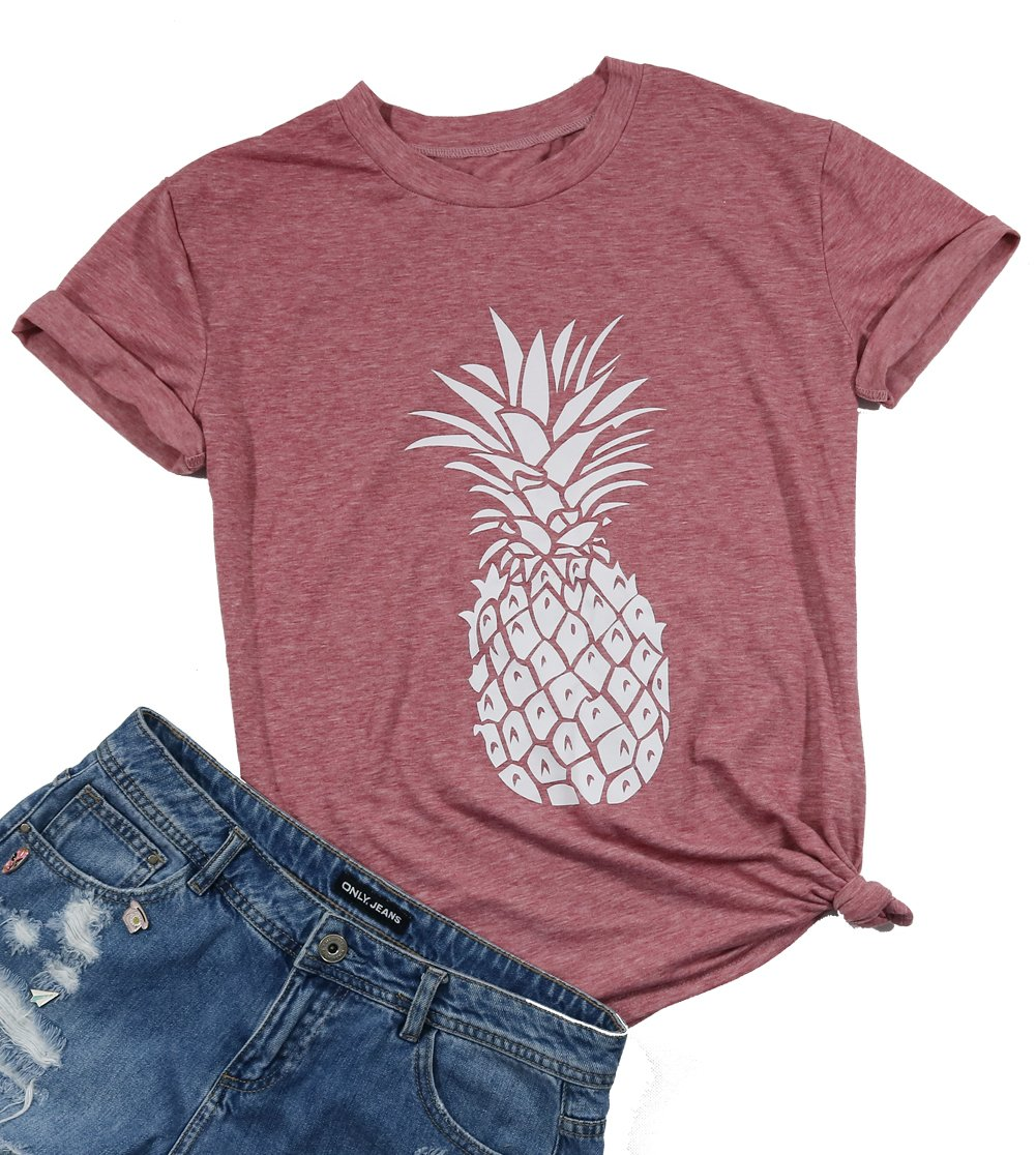 DUTUT Women's Summer Pineapple Printed T Shirt Casual Short Sleeve Tops Girls Graphic Tees Size XL (Red)