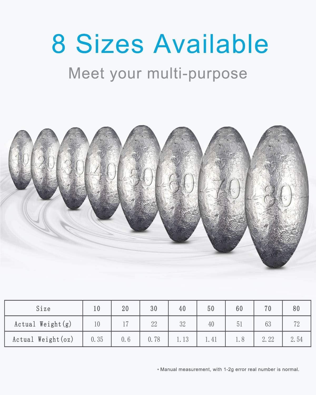 Angelgewichte f/ür Salzwasser-S/ü/ßwasser Yosoo Health Gear 20PCS Fishing Weights Sinkers Kit enthalten 5 Verschiedene Gewichte