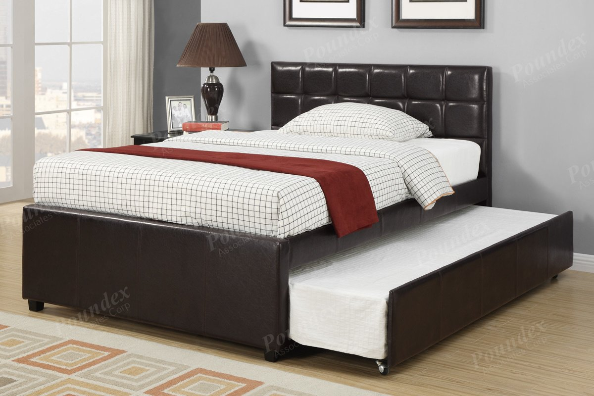 Twin trundle bed frame - Amazon Com New Espresso Bycast Leather Full Platform Bed With Twin Trundle Bed Kitchen Dining