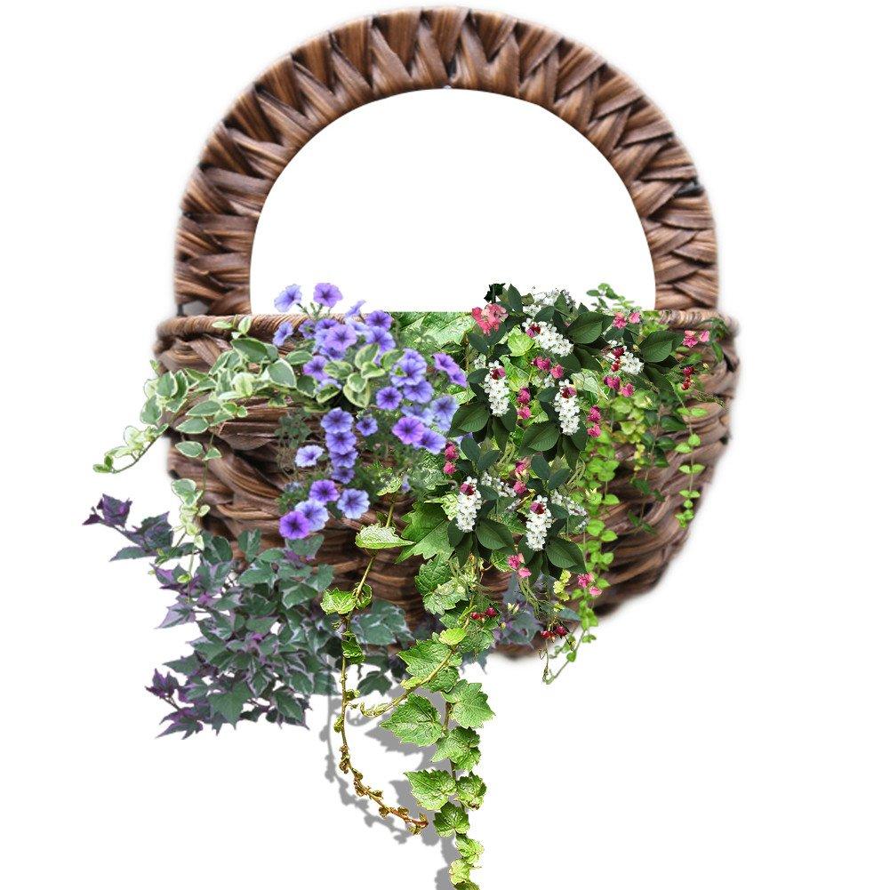 Luerme fiore cestino legno rattan cestino intrecciato da appendere cesto di fiori vasi per piante da appendere alla parete per parete casa giardino decorazione, marrone