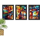 Kit de Quadros Decorativos Com Moldura Para Sala e Quarto Pintura Moderna