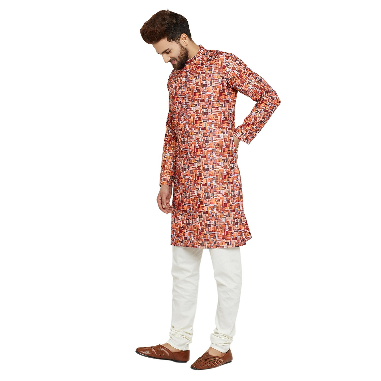Indian-Traditional-Kurta-Pajama-Set-Shirt-Printed-Men-Kurta-Ethnic-Wear-XS-5XL thumbnail 4