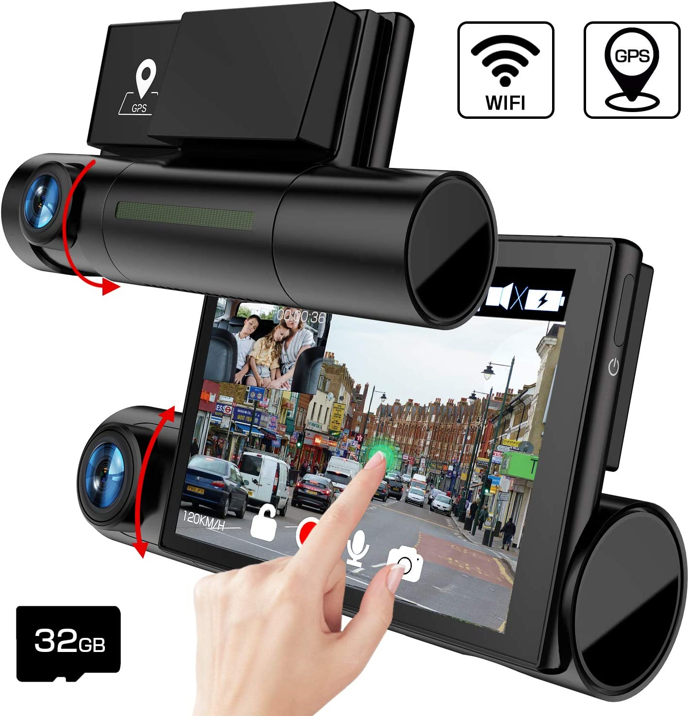 AKEEYO D7 Dash Cam Front and Rear 3 Inch OLED Screen 1080P FHD Dual Lens Car Dash Camera with WDR, Night Vision, GPS, WiFi, Loop Recording, G-Sensor