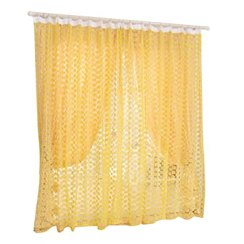 Amazon De Ounona Rose Voile Vorhang Tull Fenster Screens Balkon