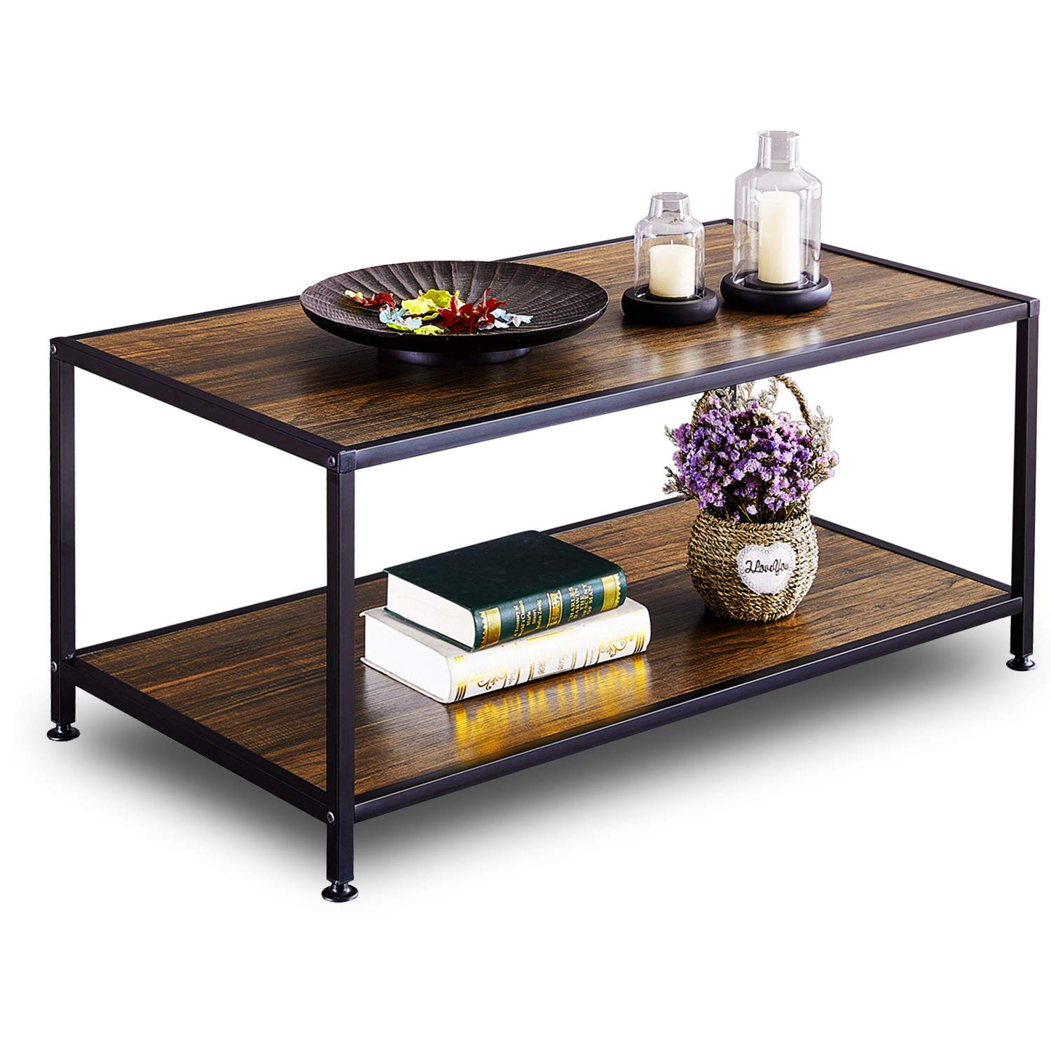 GreenForest Coffee Table Industrial for Living Room Wood Metal with Storage Walnut by GreenForest