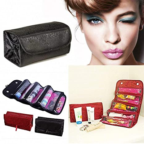 2cd1a6543a5 Bhavyam 4 in 1 Travel Buddy Roll N Go Cosmetic Bag Organizer for Women  (Black): Amazon.in: Sports, Fitness & Outdoors