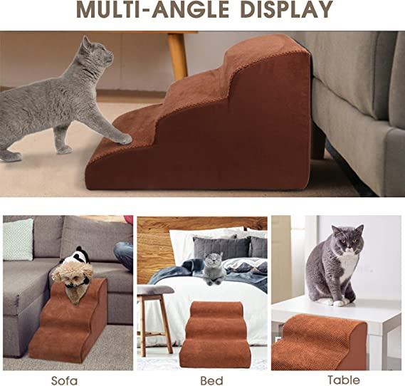 Comfy /& Wide Pet Sofa Ladder with Machine Washable Removable Cover for Small Pets All Cat /& Small Medium Sized Dogs Coffee AzsfUfsa53 Pets Dog Stairs High Density Foam 3 Tiers Pet Bed Steps
