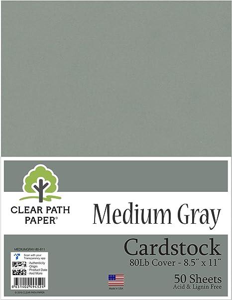 Cartulina gris mediana – 21,6 x 27,9 cm – 80 lb cubierta – 50 hojas: Amazon.es: Juguetes y juegos