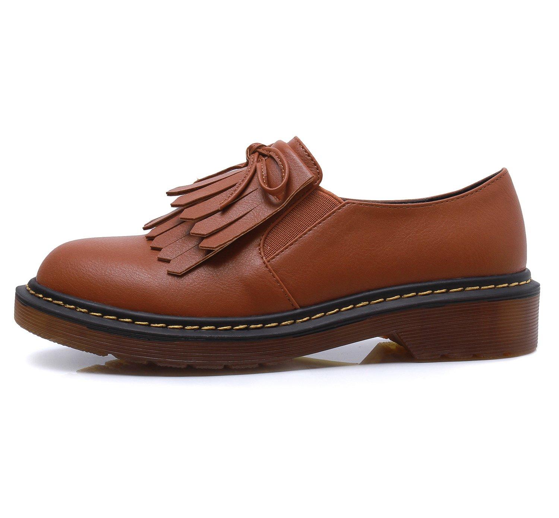 Smilun Lady¡¯s Western Low Heel Shoes Classic Tassel Flats Round Toe B01LYQ1TTZ 8 B(M) US|Brown