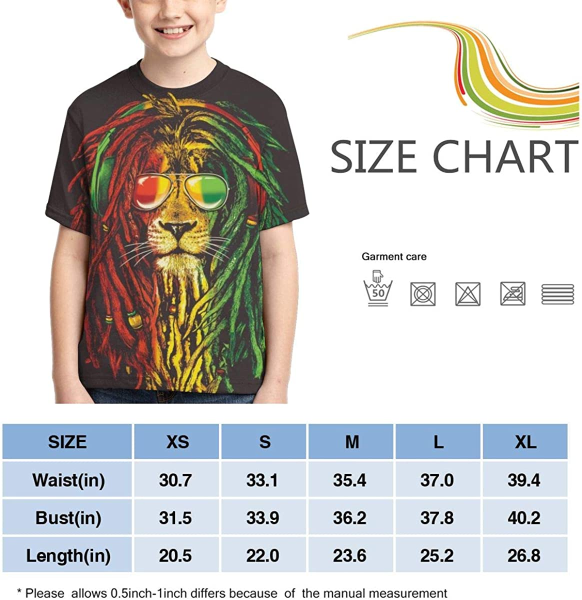 Boys Short Sleeve Rasta Vibe Lion with Sunglasses 3D Print T-Shirts Graphic Tees for Kids Teens