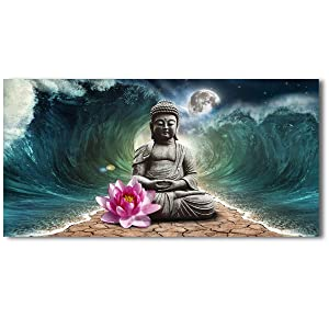 Canvas Wall Art Buddha and Giant Waves Artworks Pictures Canvas Prints Wall Art Paintings Buddha and Giant Waves Giclee Print Modern Home Decor for Living Room Bedroom Decoration