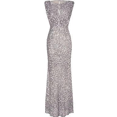 Luxueuse Robe Paillettes Manche Rond Sans Ishine® Col Avec nk8O0Pw
