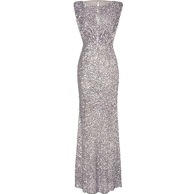 iShine Donna Paillettes Vestito Lunghe Formale Cerimonia Vestito da Sera   Amazon.it  Abbigliamento 86ee0041953