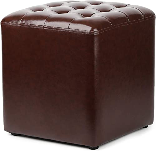 YUESUO Small Leather Ottoman Stool Sofa Stool Foot Rest Stool Coffee Stool Change Shoes Stool Soft Compact Padded Vanity Stool