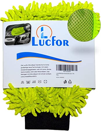 Lucfor 2 In 1 Microfibre Car Wash Mitt Avoids Scratches Gentle Paint Insects And Dirt Remover On The Back Lightweight Firm Hold On Large And Small Hands High Water Absorption Auto