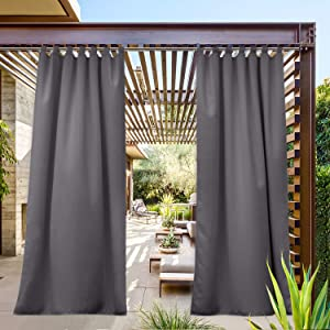 NICETOWN Outdoor Curtain Long Drape Sunblock with Tab Top, Thermal Insulated Blackout Window Treatment Protect Privacy for Exterior/Outside Screen (Single Piece, W52 x L95, Gray)