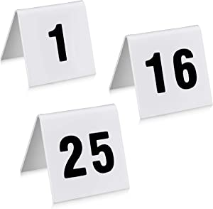 """New Star Foodservice 26757 Double Side Plastic Table Number Card, 1-25, 1.7"""" x 2"""" Inch, White"""