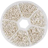 PandaHall Elite 1 Box Iron Plated Jump Silver Rings 4mm to 10mm diameter with Container