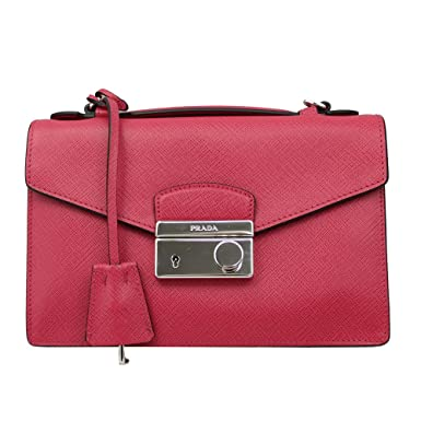 Amazon.com  PRADA Pink Saffiano Leather Clutch Bag W Strap Bt0960 ... 58c04272121c1