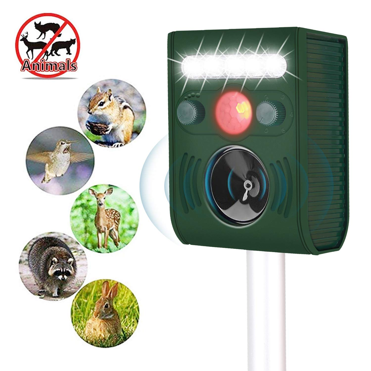 BPerfect Ultrasonic Animal Repeller,Solar Powered Repellent,Activated with Motion,Ultrasonic and Flashing LED Lights Outdoor Repellent for Dogs,Cats,Foxes,Mice,Birds,Skunks,Etc. …Pack of 2