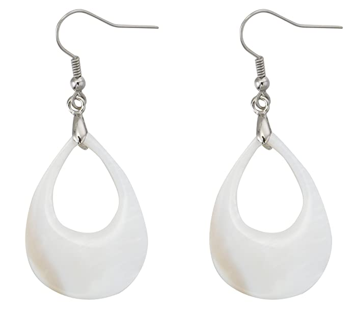 Vintage Style Jewelry, Retro Jewelry MagicYiMu Bridal Teardrop Dangle Hook Earrings Adorned Natural Freshwater Shell Jewelry Women $10.99 AT vintagedancer.com