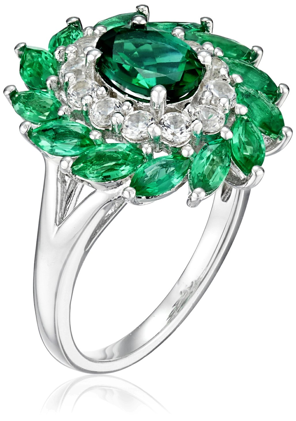 Sterling Silver Created Emerald and Created White Sapphire Flower Oval Ring, Size 7