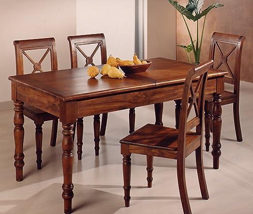 Mesa de comedor provenzal, extensible de madera maciza de Teca, muy preciada Acabado color nogal – Estilo colonial francés.: Amazon.es: Hogar