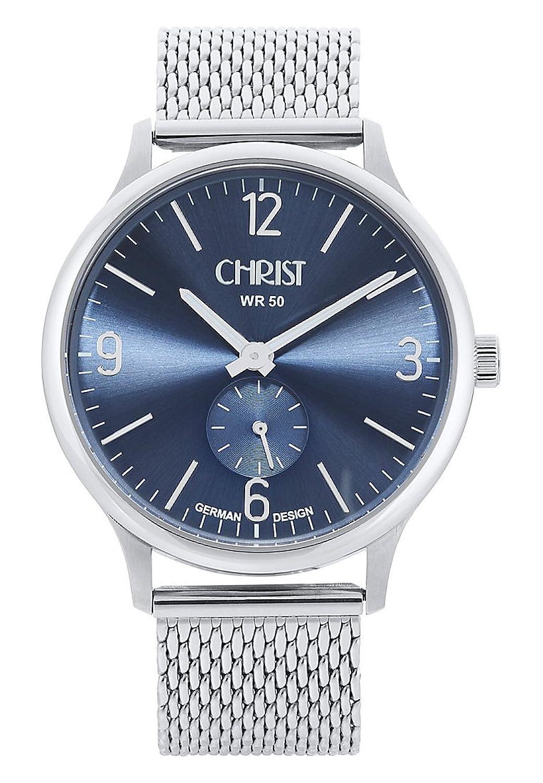 CHRIST times Herren-Armbanduhr Analog Quarz One Size - blau - silber