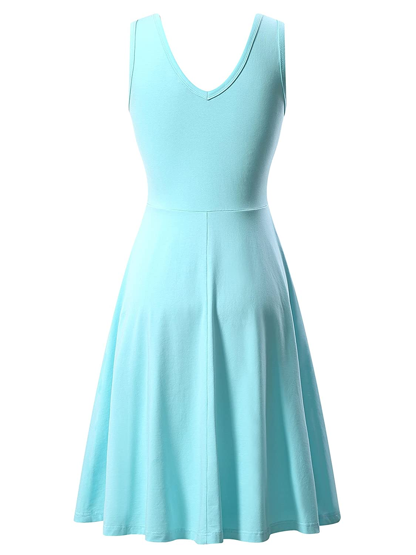 FENSACE Womens Scoop Neck Sleeveless Midi Dress Casual Flared Tank Dress