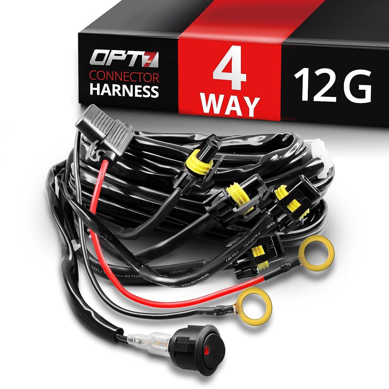 amazoncom opt7 12 gauge 500w quad 4 way wiring harness w switch