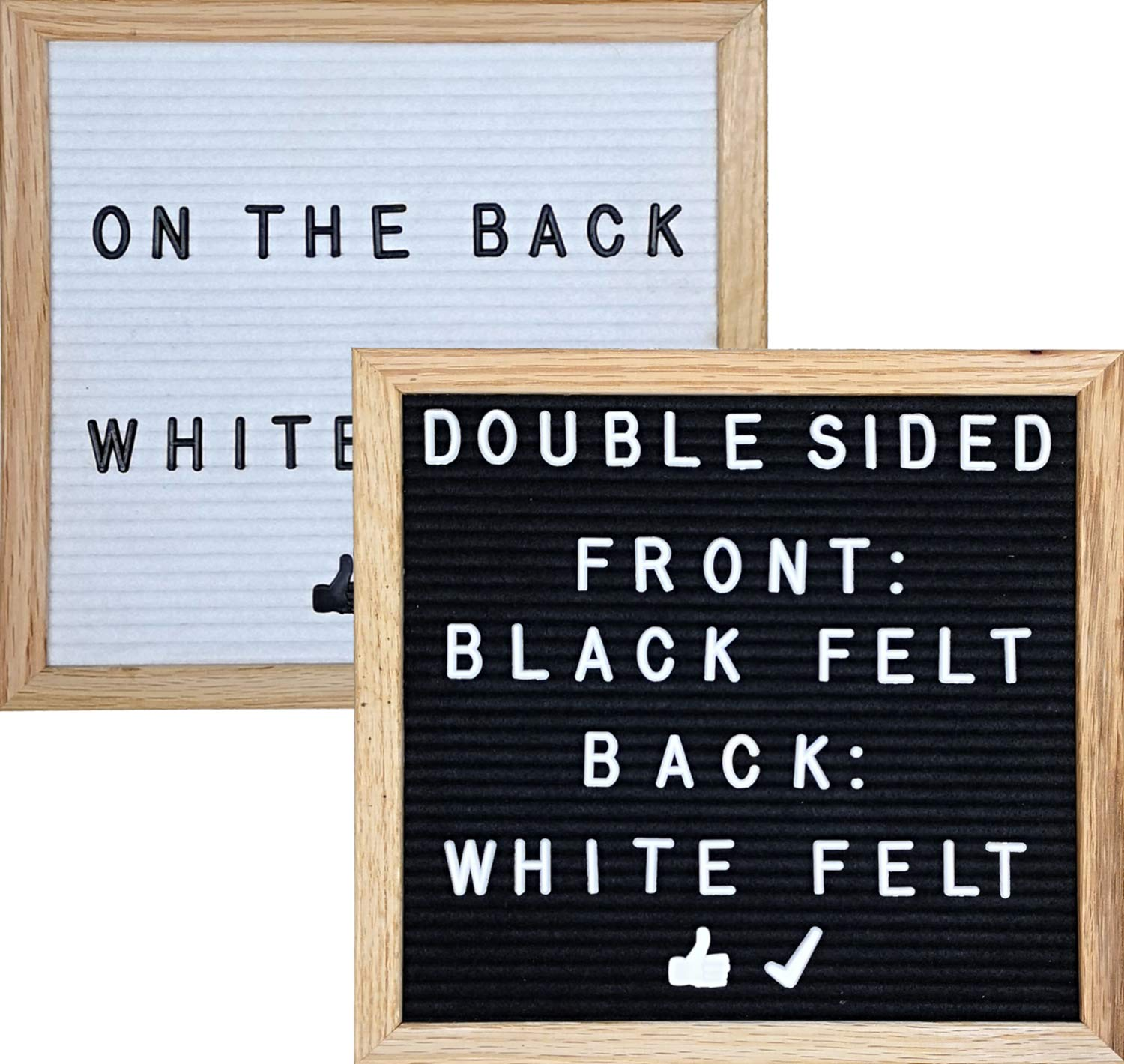 Double-Sided Black & White Felt Letter Board 10X10 with 692 White and Black Letters, Numbers and Emojis, 36 Slot Organizer Set,Oak Easel, Cutters, and 2 Letter Pouches
