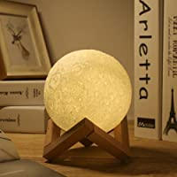 Moon Lamp, Greenclik 3D Moon Light Touch Control with Dock, LED Dimmable Luna Lamp USB Rechargeable Night Light for Baby Kids Home Bedroom Decorative Gifts [Diameter 13cm/ 5.1in]
