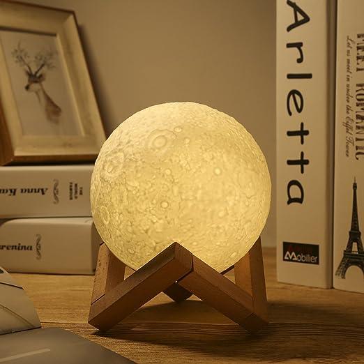 Greenclik LED Lunar Moon Night Light Lamp, 3D Luna Lamp Smart Touch Control  Moon Lantern